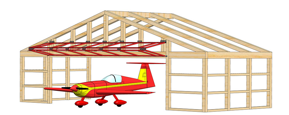 drawing of plane exiting bifold door