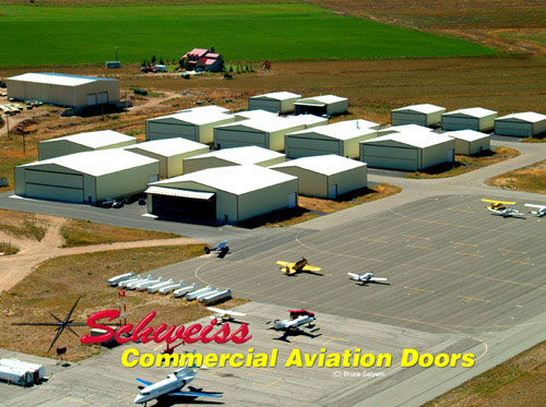 Ariel View of Airport Hangars with Bifold Doors