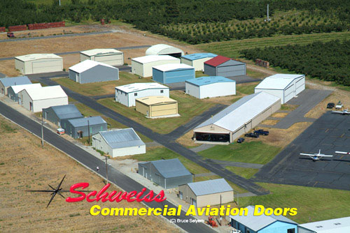 Small Airport with many small aircraft hangars
