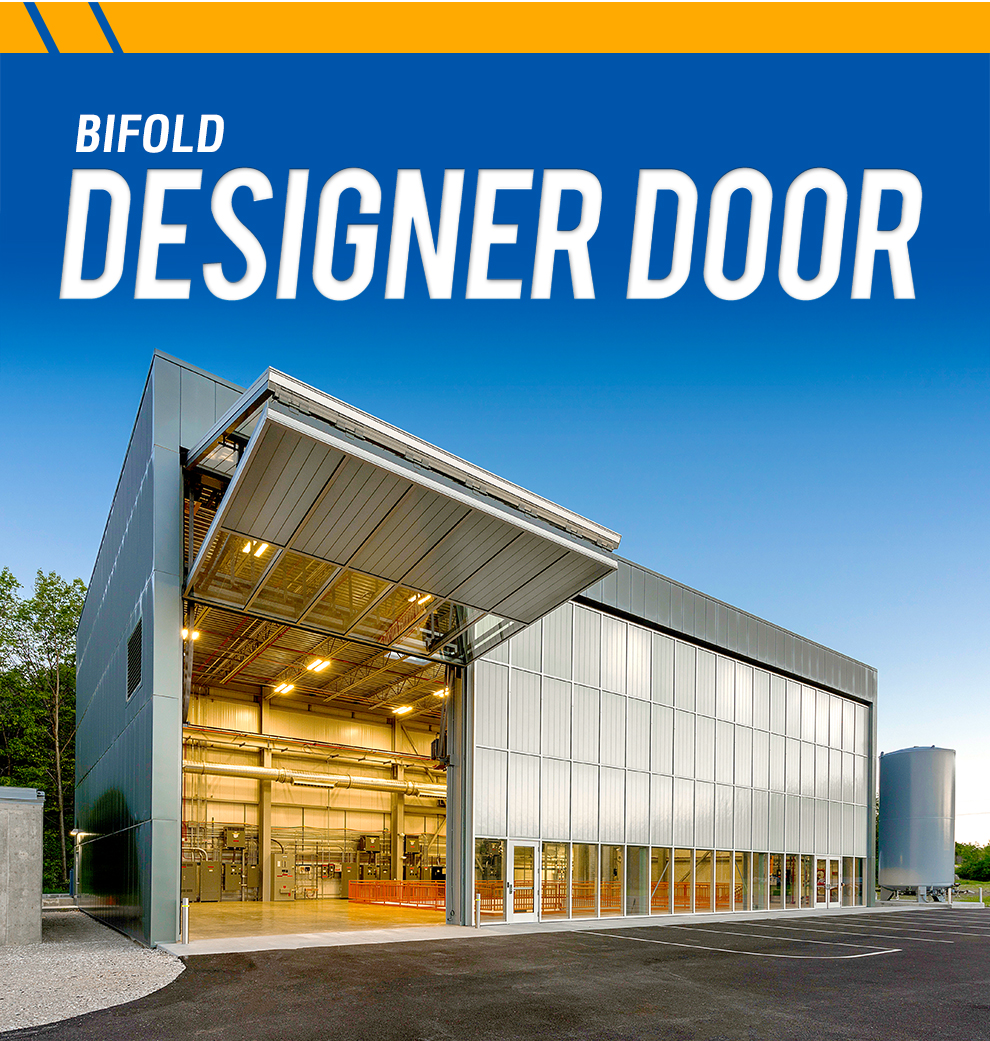 An open designer bifold door on a steel bulding