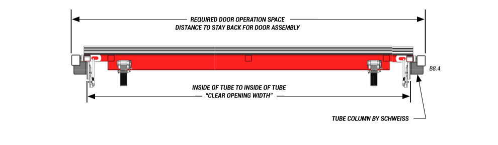 door plan view of horizontal top drive with manual latches top view