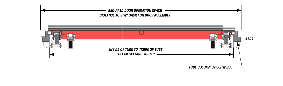 Door Plan View of horizontal top drive with Strap Latches