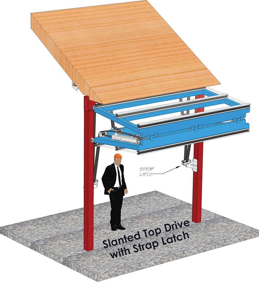 overview of slanted top drive with strap latches
