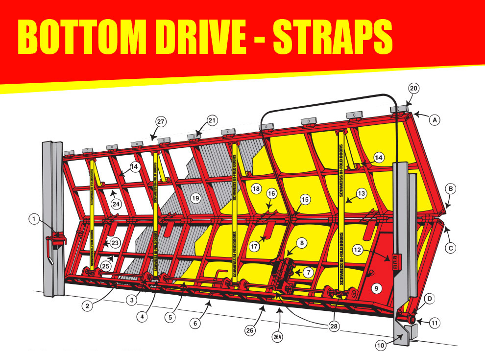 Bottom drive strap doors