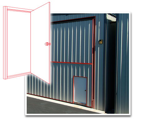 Walkdoors built into the Doorframe available for your Machine Shed Building Doors