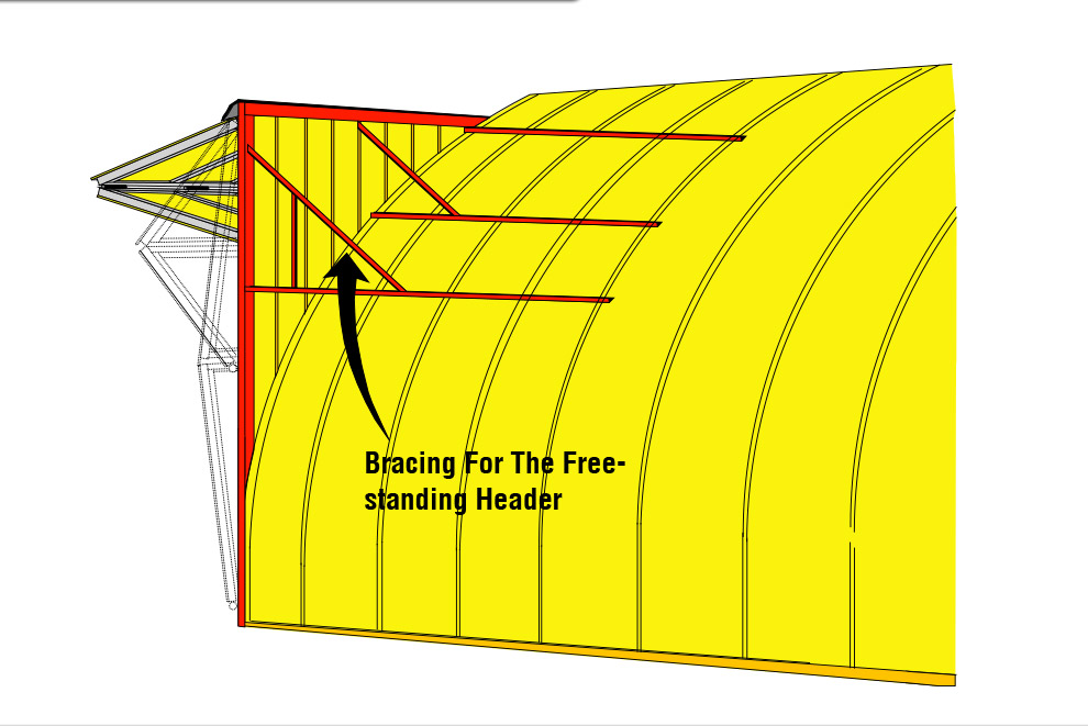 round roof building with bracing for free standing header