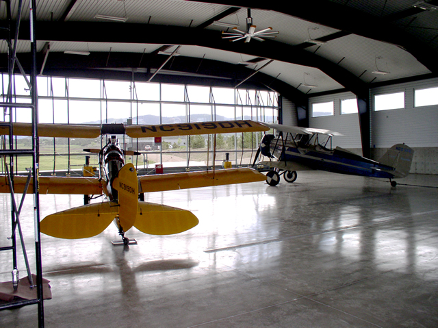inside hangar with all glass bifold door