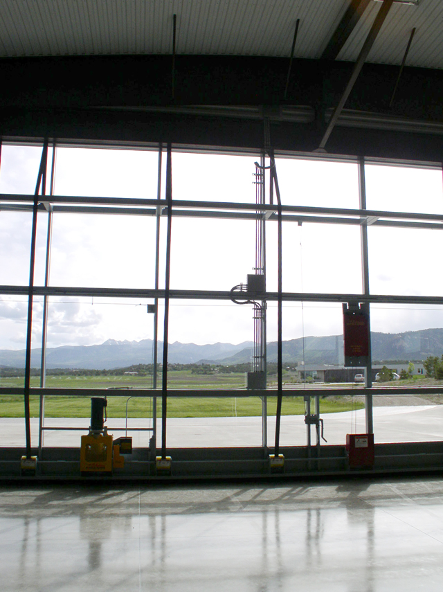 close up of all glass hangar door