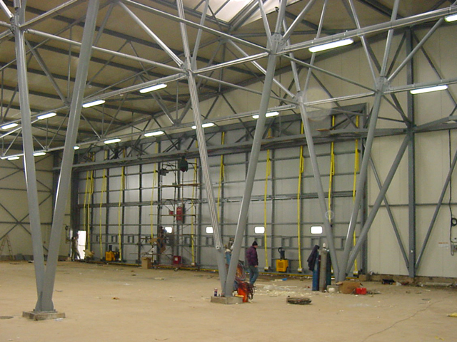 inside view of closed bifold door on european hangar
