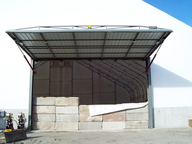 hydraulic door in open position on fabric building