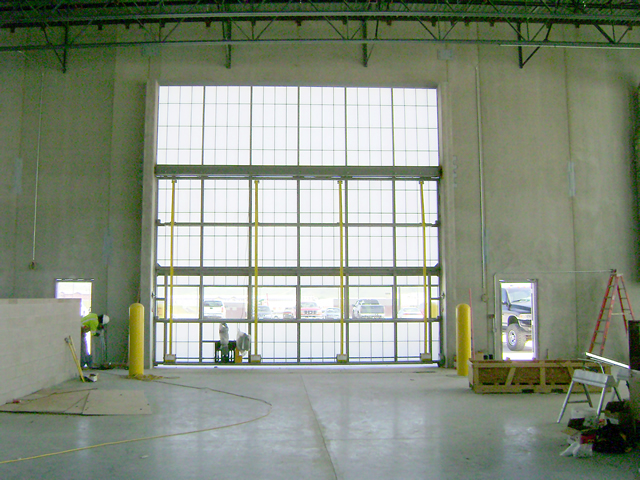 Inside vide of bifold door on government building