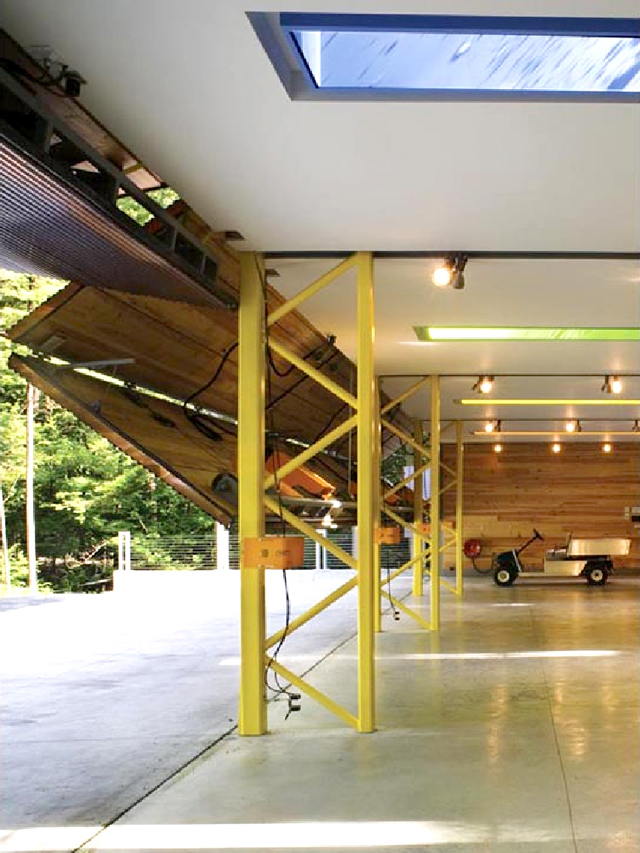 inside view of lake home with bifold garage doors