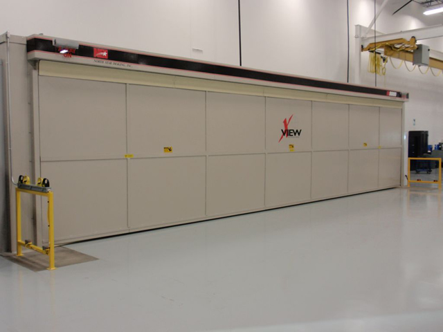 A closed special Bifold door for a large x-ray enclosure.