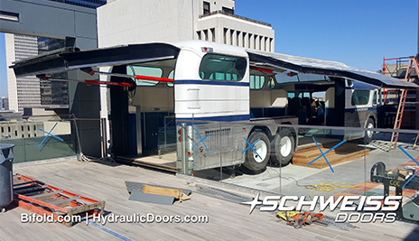 Schweiss Hydraulic Doors installed on Bobby Bus