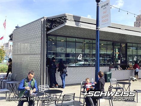 Schweiss Doors provide awning for coffee Drinkers