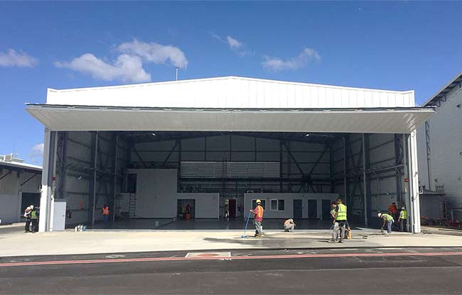 Corporate Jet Hangar gets finishing touches for Bifold Door