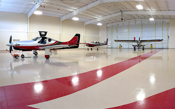Immaculate hangar holds three planes
