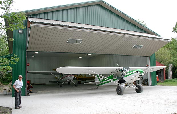45 foot door gives enough room to wheel in and out planes or farm machinery