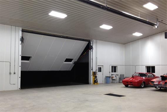 24 ft x 15 ft hydraulic door is opening in Gallentine's mancave