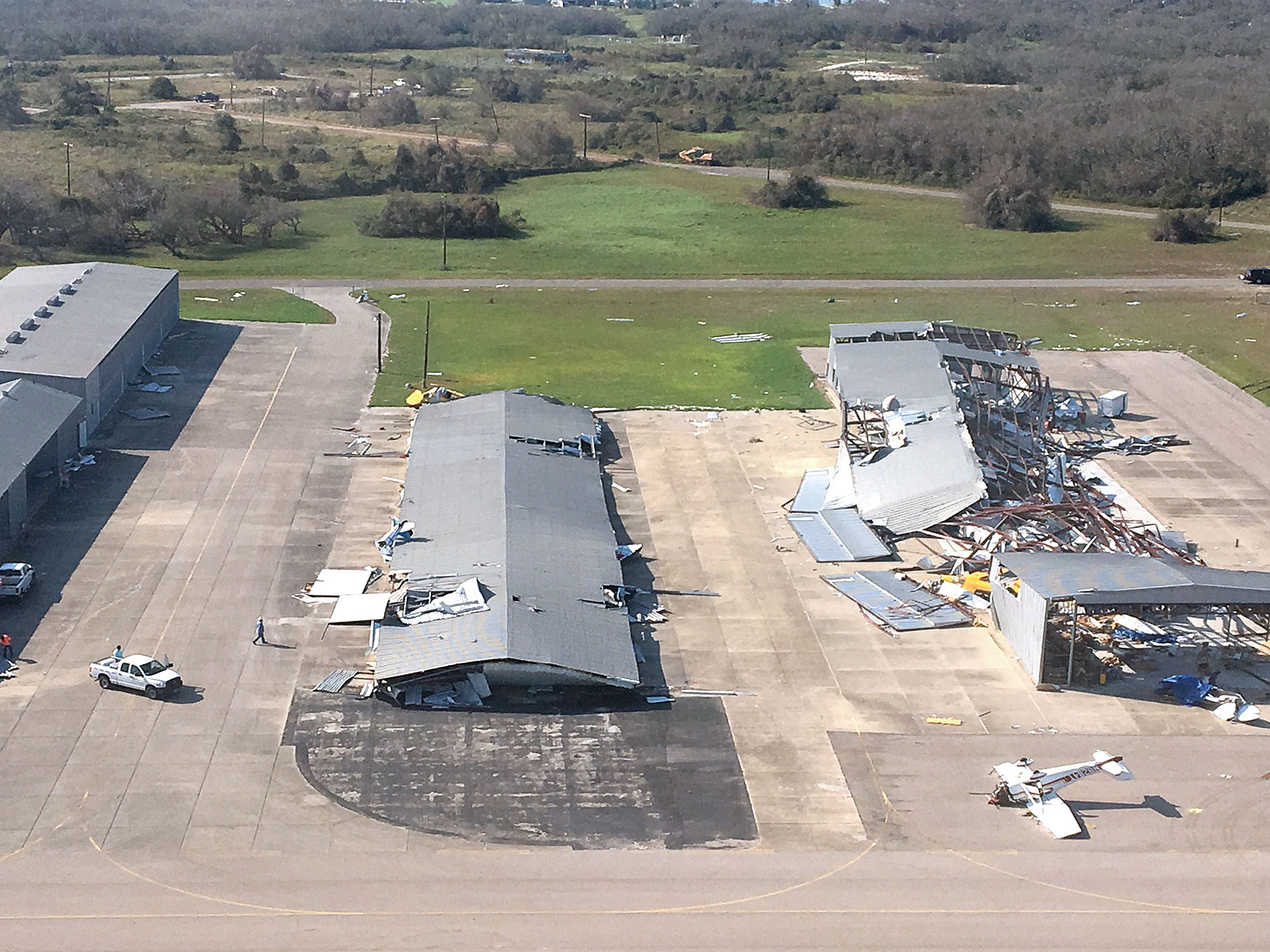 aerial view of destroyed hangar