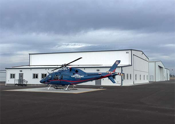 Helicopter Hangar door is wind rated at 120 mph at County Regional Airport