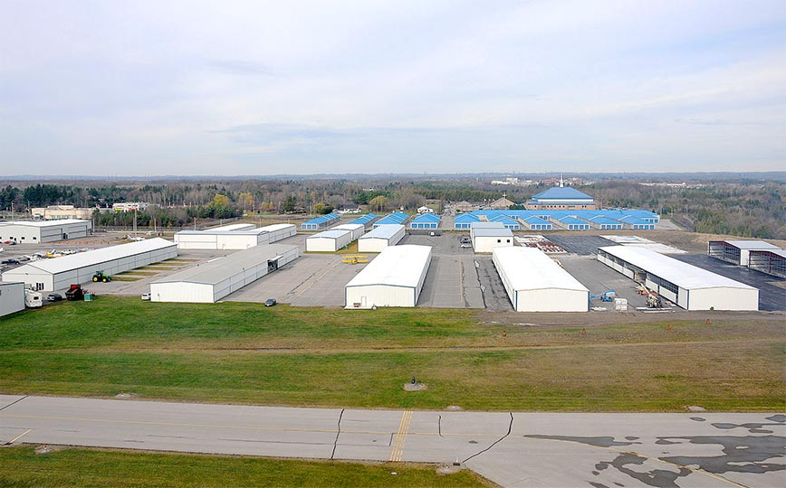 Bird's Eye view of 80 Schweiss Lift Strap bifold doors on the T-hangar at Oshawa Airport