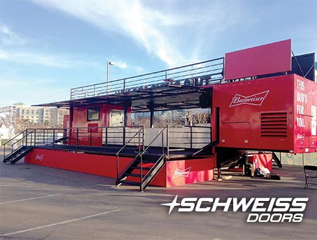 Schweiss Container Door opens up into various attractions