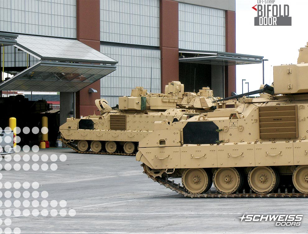 Fort Carson tanks using Schweiss Bifold Door