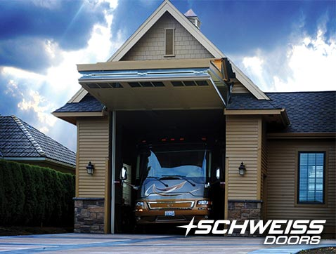 RV Garage with Schweiss Bifold Door housing an RV