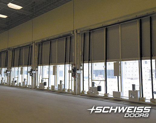 Schweiss Bifold Doors from the inside are ready to be opened