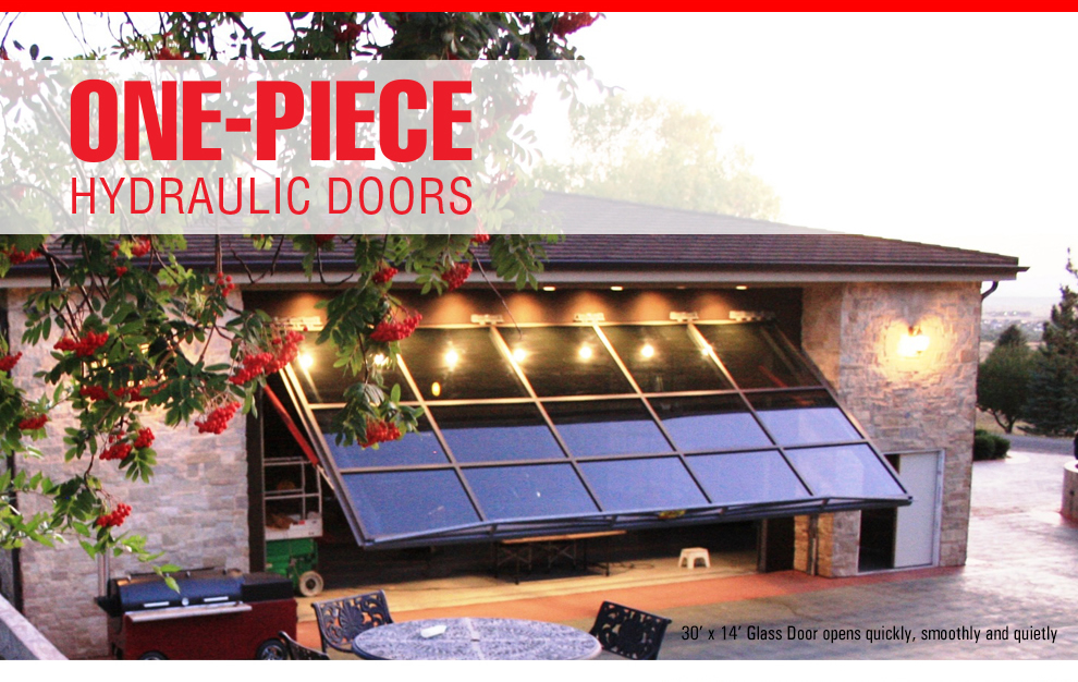 Glass garage hydraulic door