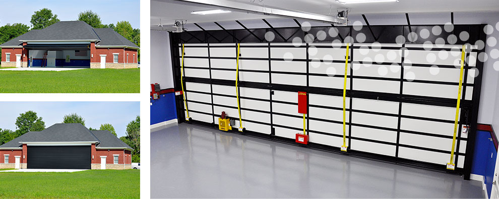 schweiss bifold hangar door open and closed