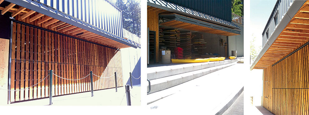 lake tahoe bifold boathouse door clad in wood to match exterior