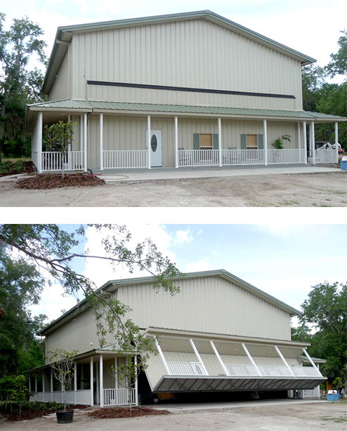 Florida hangar home with hydraulic door / porch