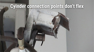 Cyliner connection points don't flex