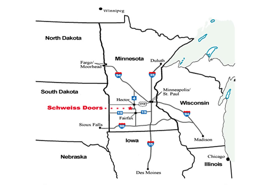Map of Schweiss Doors Office Location
