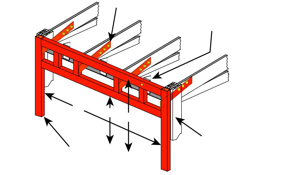 Free Standing Header with Lateral Bracing Angle Extension Bracket