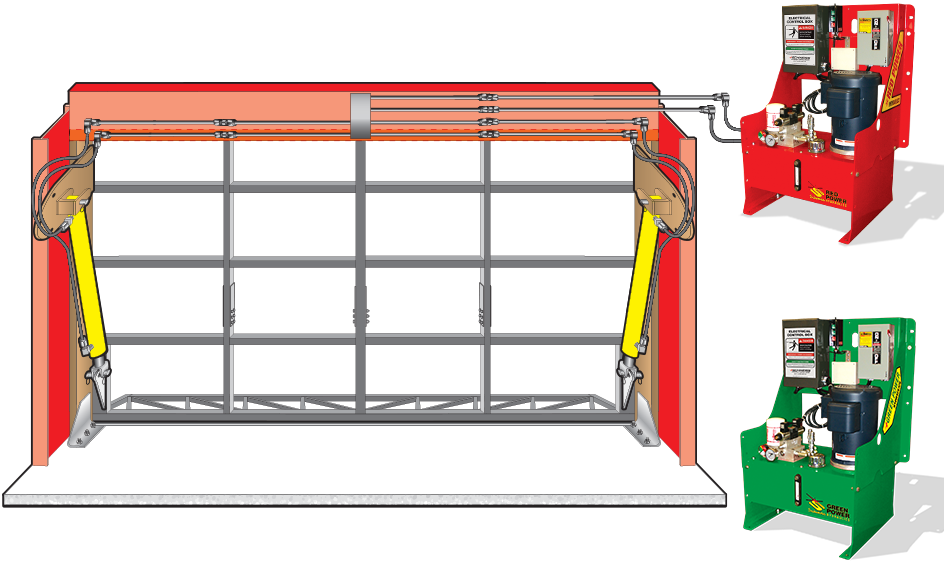 hydraulic doorframe in header with pumps and hydraulic lines