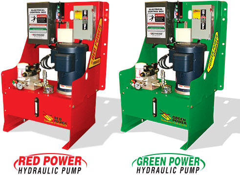 Schweiss Red Power and Green Power hydraulic pumps