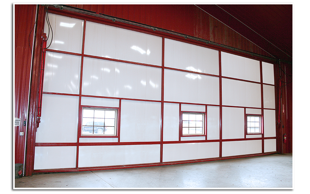 Schweiss' new way to Insulate your Hydraulic Door and Maintain a Finished Look inside the Building.