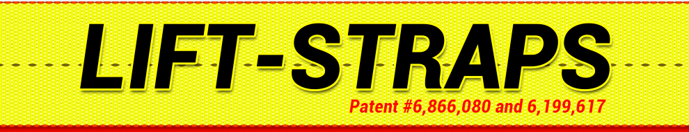 bifold lift straps banner with patent number
