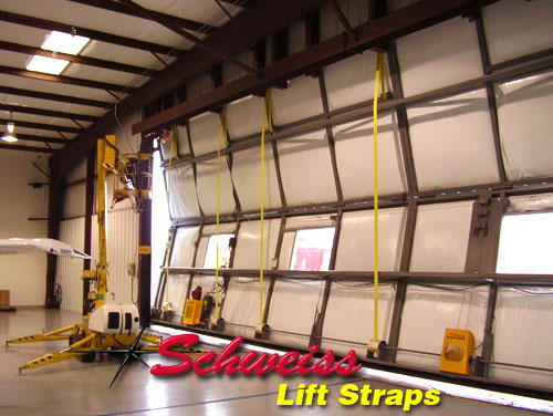 Bifold Hangar Door with Lift Strap System