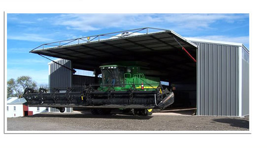 machine shed opening for large combine