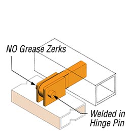 Lighter hinge design, no grease zerks
