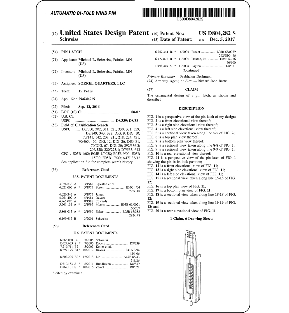 Automatic Windpin United States Patent - Drawings