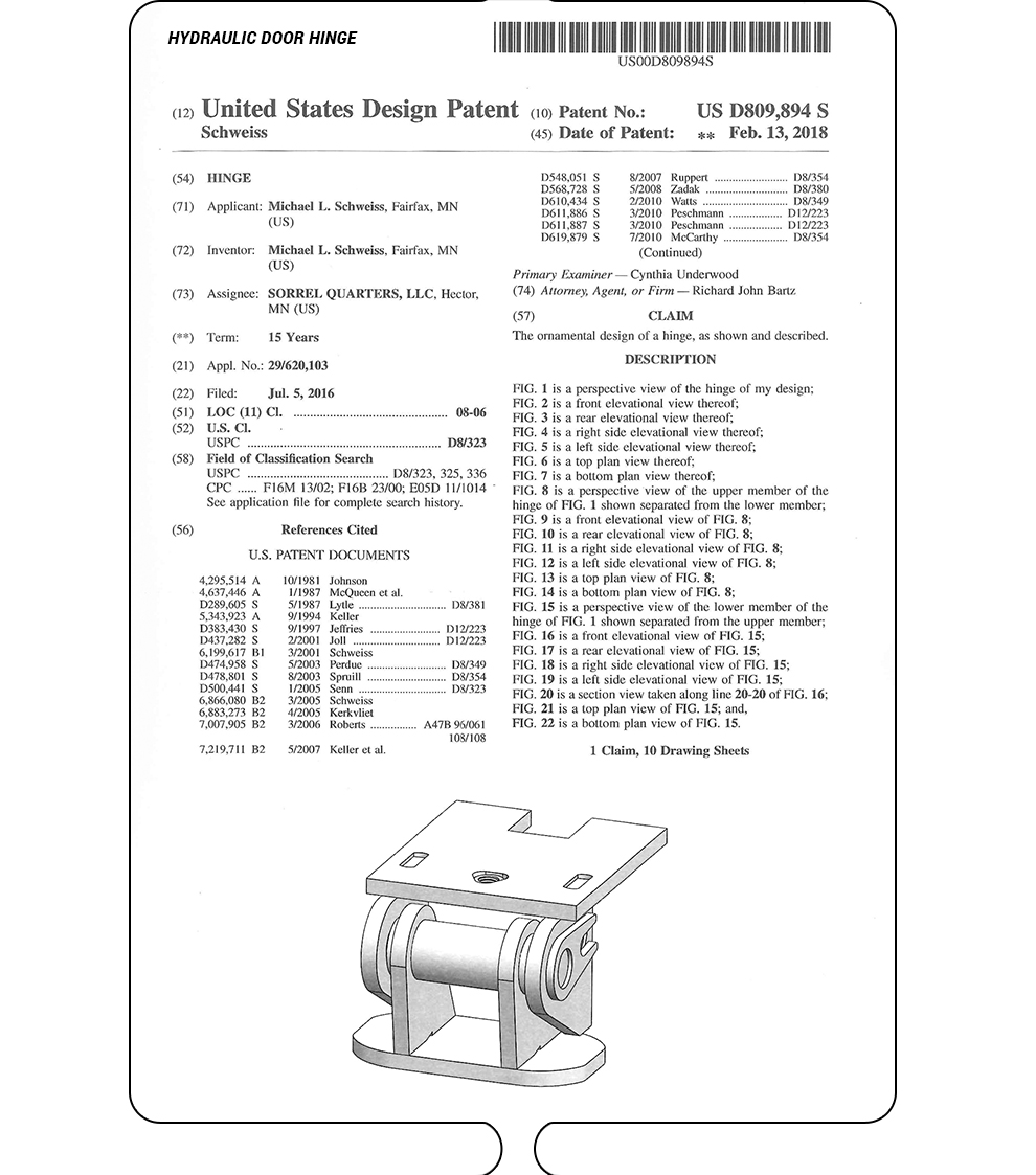 Hydraulic Door Hinge - United States Patent - Drawings