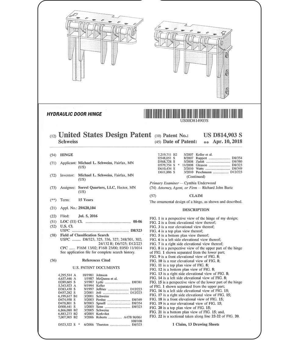 Hydraulic Door Hinge - United States Patent - More Drawings