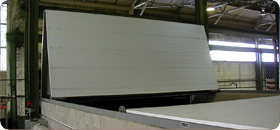 bifold door on snad blasting chamber