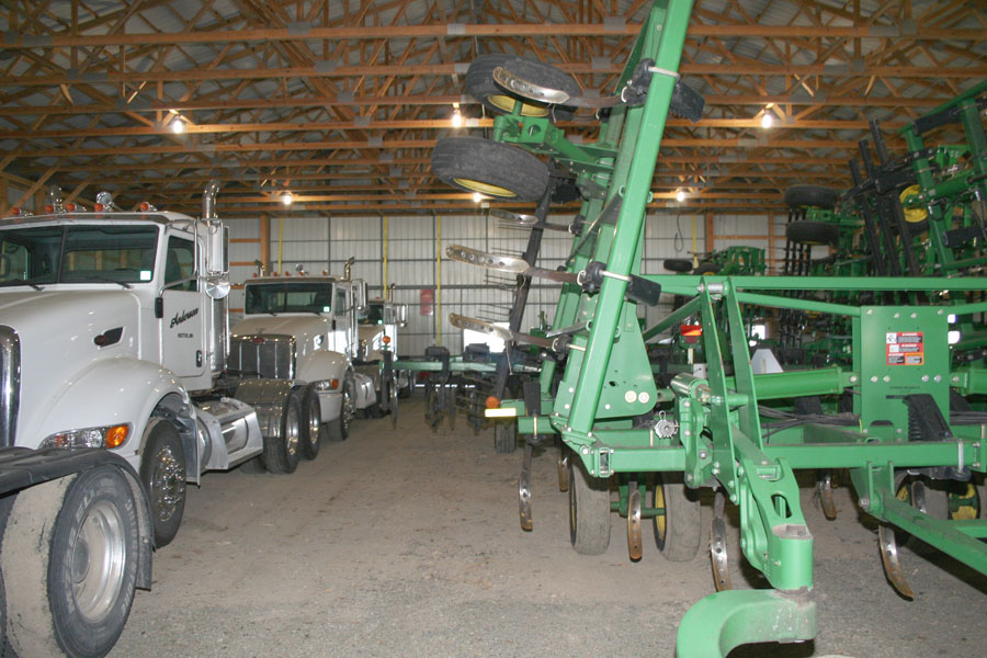 Stored farm equipment