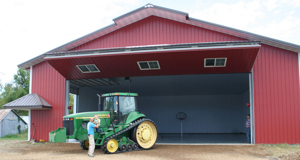 Big machinery, big farm door